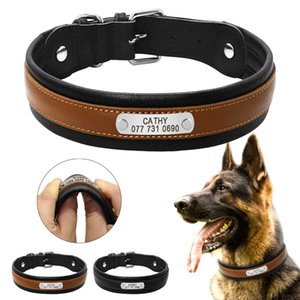 Wholesale Personalized Dog Collar Customized Dogs ID Collars Inner Padded Leather Pet Collar for Medium Large Dogs Pitbull Free Engraving