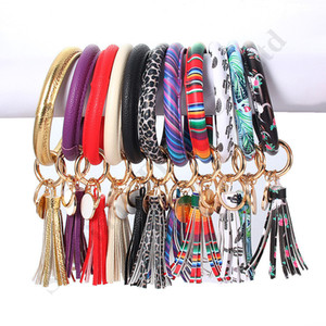 Wholesale Women Tassels Bracelets PU Leather Wrap Key Ring Leopard Lily Print Keychain Wristband Sunflower Drip Oil Bangle Bracelet Chains DHL A101702
