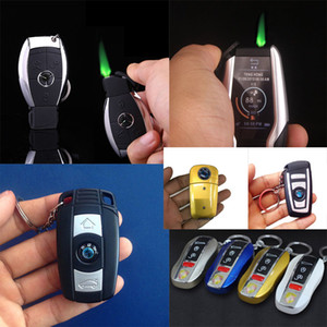 Fashion Design Creative car Model key Windproof Butane gas refillable cigarette Flame Lighter cigar inflatable buckle With LED Flashlight