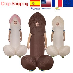Wholesale Inflatable Penis Halloween Costumes For Adult Kids Sexy Costumes Dick Jumpsuit Funny Dress Disfraz Paty Anime Suit mascot