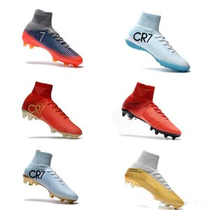 Wholesale 2019 Original White Gold CR7 Soccer Cleats mens Mercurial Superfly FG V Kids Soccer Shoes Cristiano Ronaldo Football shoes