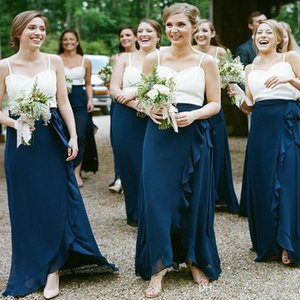Low Price Bohemian Navy Blue Bridesmaid Dresses White Top Spaghetti Strap Sheath Mermaid Wedding Guest Evening Gowns