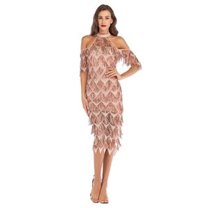 Wholesale Luxury design new Womens Sexy Dance Sequin Dress high quality Shiny Cocktail Party evening Tassel Dress