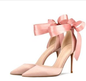 Wholesale 2019 Designer Wedding Shoes cm High Heels Bridal Shoes Straps Women Girls Prom Party Evening Dress Pink Red Bridal Pointed Toe Shoes Cheap