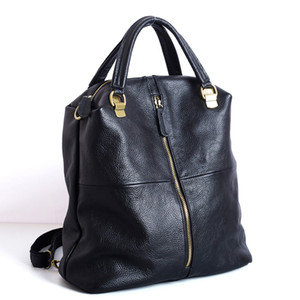 New style High Quality New Fashionable Black Multi-purpose Double-shoulder Bag Women Cow Leather mochila feminine Backpack