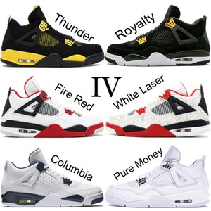 Top 4 4s Men Basketball Shoes New White Laser Black Cat Thunder Military Blue 2019 Designer Shoes Sport Sneakers Size 7-13