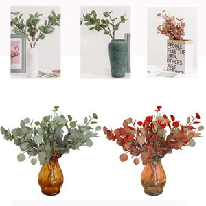 Wholesale shopping for home decor resale online - 1pc Branches Artificial Eucalyptus Leaf Autumn Fake Leaves Decorative Fake Plants For Home Shop Garden Party Decor