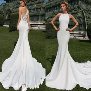 Wholesale 2019 Sexy Beach Satin Garden Mermaid Wedding Dresses Long Sheer Back with D Floral Lace Jewel Neck Outdoor Plus Size Bridal Dress