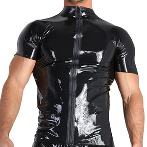 Wholesale Black Sexy Slim Mens Patent Leather Short Sleeve Zipper Open T shirt Nightclub Style Metallic Shiny Hip Hop Male T shirts