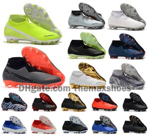 Wholesale Hot Phantom VSN Vision Elite DF FG Fire New Lights Under The Radar Fully Charged Mens High Ankle Soccer Cleats Football Shoes Size US6