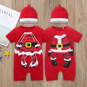 Wholesale Baby Kids Christmas Clothes Romper Short Sleeve O neck Chrismtas Red Romper with Hat Infant cotton Christmas Clothing