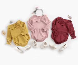 Wholesale baby ruffle clothing for sale - Group buy Ins Baby clothing Spring Fall cotton romper Ruffle Collar Solid Color Long sleeve Girl romper Baby cuasual clothing