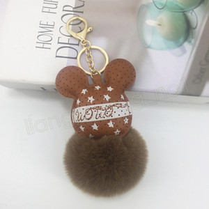 Wholesale hot Fashion PU Mouse Plush Keychains Head Fur Ball keyring Animal Toys for Girls Car Bag Phone Strap CM cartoon keychains