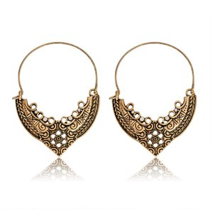 Wholesale Women Earrings Vintage Bohemian Openwork Flower Mandala Earrings Indian Tribal Ethnic Hoop Dangle Drop Earrings