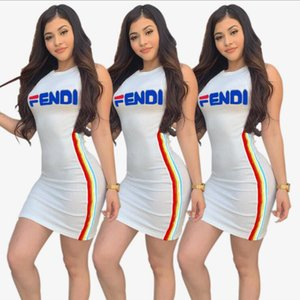 Wholesale Europe and America New pattern summer designer casual dress for women Fashion Women dresses Italy sexy Cube F Letter offset printing Round c
