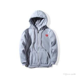 Wholesale Fashion mens designers hoodie CDG play off red heart white commes des cotton garcons casual windbreaker jackets winter coats