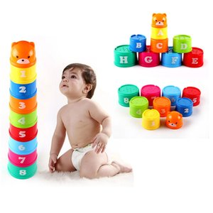 Wholesale 9Pcs Set ABS Folding Stack Cup Tower Figures Letters Educational Baby Toys Early Intelligence Months Tower Babies Games For Children