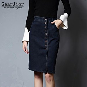 Wholesale new hot sale women s spring summer autumn large size button knee length denim skirts woman Single breast cowboy half skirt