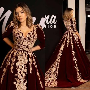 Wholesale Burgundy Velvet Prom Dresses A Line Kaftan Caftan Evening Formal Dress Half Sleeve Gold Luxury Lace Applique Arabic Dubai Occasion Gowns