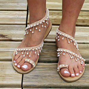 Sleeper #401 2019 NEW Fashion Women Beaded Sandals Summer Shoes Party Sexy Pearl Flat Bottom Sandals unique design Free Shipping