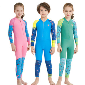 Summer Kids Jumpsuits Swimwears Diving Swimsuit Long Sleeves Children boys Girls Surfing romper soft warm Comfortable baby Clothing C5614