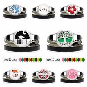 Wholesale Poppy Tree of Life mm Watch Diffuser Locket Wrap Bracelet PU Leather Band L Stainless Steel Locket Pads