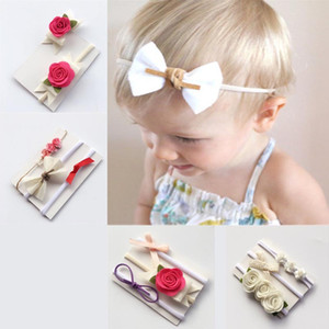 Wholesale Baby Hair Band Set Bow Rose Hair Band Artificial Flower Barrettes Design Lace Nylon Elastic Hair Band