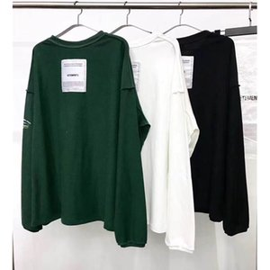 Wholesale Vetements T Shirts Men Women Long Sleeve Loose Casual Both Sides Top Tees Embroidery Black White Green Patch Vetements T Shirt