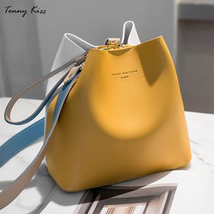 Wholesale Tonny Kizz panelled bags for women shoulder handbag leather female crossbody bags large capacity ladies hand yellow color