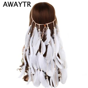 Wholesale AWAYTR Boho White Red Pink Feather Headband Women Festival Wedding Headwear Gypsy Feather Rope Crown Headdress Hair Accessories