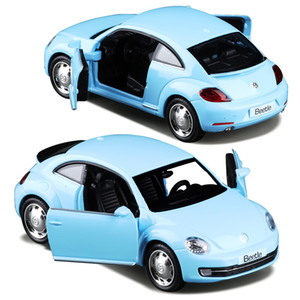 1:36 Alloy Diecast Metal Car Model For The New Volkswagen Beetle Collection Model Pull Back Car Toys - Red   Sky Blue
