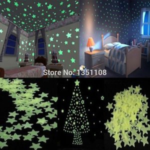 Wholesale 100pcs Home Wall Light Green Glow In The Dark Star Stickers Decal Baby Room provide your baby a bright blue sky a sweet dream