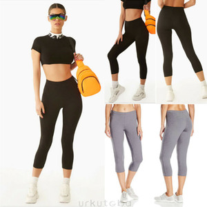 Womens High Waist 3 4 Length Leggings Capri Cropped Summer Yoga Fitness Running Gym Sport Exercise Pants High Quality