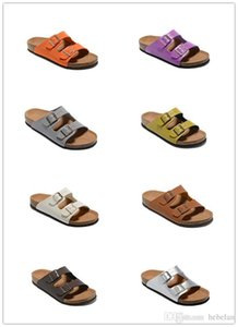 Wholesale Quality High Brand Arizona Birk Genuine Leather slippers For Men Women flats Cork sandals casual summer beach with buckle slippers