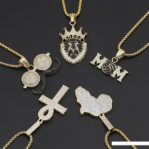 Wholesale A Full Beard Map Pendeloque Cut Letter Mom Chief Environmental Protection Copper Gold Protect Hip Hop Rap Zircon Necklace