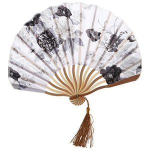 Wholesale Chinese Gray Peony Blossom Fabric Bamboo Folding Dancing Hand Fan White