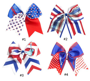 Wholesale 8 Large th Of July Cheer Bows Handmade American Flag Patriotic Elastic Bands Hair Bow Cheerleading For Girls Hair Accessorie Colors