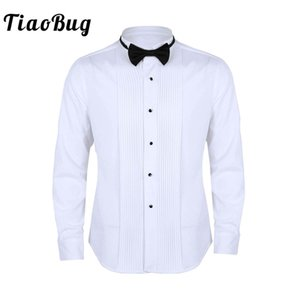 Wholesale TiaoBug Men Long Sleeve Slim Fit Solid Color Casual Tuxedo Dress Shirts with Bow Tie White Business Formal Wedding Party Shirt