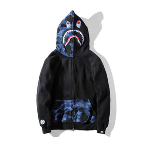 2017 Mens Winter Ape Jackets Shark Printing Off A Bathing Aape Ape Men's Clothing Sweater White Men Women Casual Hooded Hoodies Ape Cheap