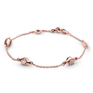 Wholesale New arrival ROSE Gold plated MODERN LOVE PODS BRACELET Original Box for Pandora Sterling Silver Chain Bracelet Set for Women Girls