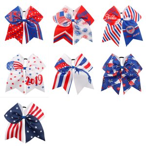 Wholesale 7 Colors Cheer Bows th of July Patriotic Glitter Elastic Hair Ties Cheerleader Bow With Ponytail Holder For Girl Cheerleader FJ366