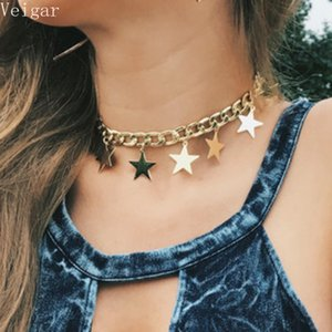 Wholesale Gold Silver Color Thick Chain Stars Tassel Choker Necklace Fashion Jewellery Ladies Necklaces for Women Colar Feminino