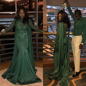 Wholesale Dark Green Black Girls Prom Dresses 2019 Mermaid Long Sleeve Bead Lace Formal Evening Gowns Cocktail Party Ball Quinceanera Sweet 16 Dress