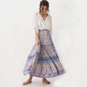 2019 Beach Ethnic Style Swing Skirt Women Long Hippie Bohemian Boho Flowers Elastic Waist Floral Summer Party Maxi Skirts