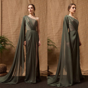 Wholesale Dark Green One Shoulder Evening Dresses Sexy Chiffon High Split Girls Pageant Dresses Illusion Floor Length Prom Gowns