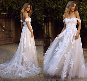 Wholesale Country Boho Beach Wedding Dresses Sexy Backless A Line Off Shoulder Appliqued Tulle Long Summer Bridal Gowns Bohemian BM1510