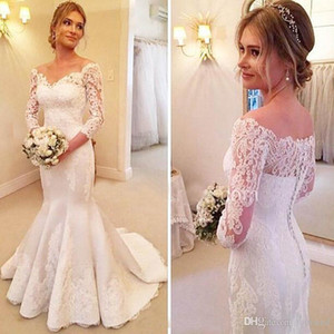 2019 Elegant Lace Mermaid Wedding Dress Sheer Neck Appliques Wedding Gowns with Button Back Vestidos Plus Size on Sale