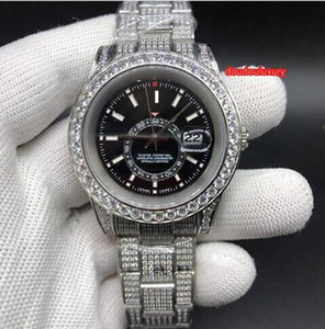 Wholesale Silver Diamond Stainless Steel Watch Black Dial Size mm and mm Top Fashion Hot Watches Automatic Mechanical Waterproof Super Watch