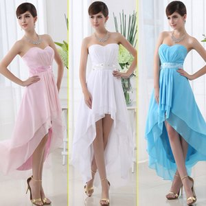 Wholesale 2019 elegant In Stock hi lo chiffon prom dresses Beaded Gowns Cheap sale bridesmaid dresses Real Image Special Occasion Dresses SD013
