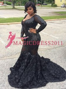 Wholesale Black Girls 2019 Lace Mermaid Pageant Prom Dresses African Vestidos Celebrity Dress Ruffled Black Girl Illusion Formal Evening Gowns